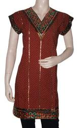 Bollywood Cotton Kurta Top Tunic with Block Print,  Embroidery & Lace