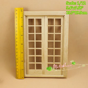 DIY Double Hung 14 Panel French Glass Door Dollhouse Miniatures 1/12 scale
