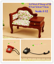 1:12 Dollhouse Furniture Miniature Sofa Telephone Stand Settee and phone 1910s