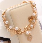 Handmade jewelry Women/Girl Gold plated Chain Beads Crystal Bracelet -