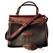 Argentina Leather Black & Brown Travel Tote Handbag For $145