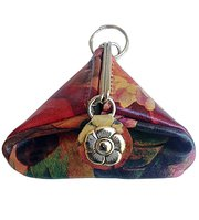 Floral Leather Vintage Styled Coin Pouch with Key Ring For $26