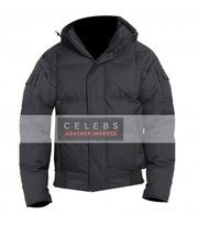 Men's Aviator Style Hoodie Black Winter Jacket