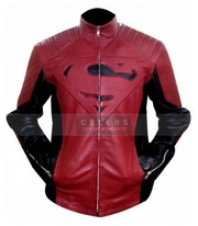 Superman Red Black Cosplay Leather Jacket