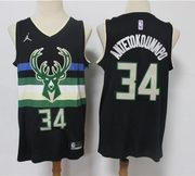 Men's Milwaukee Bucks #34 Giannis Antetokounmpo Jordan Brand Black Sta