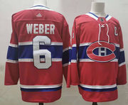 Men's Montreal Canadiens #6 Shea Weber adidas Red Hockey Jersey