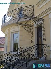 Wrought iron stair railing outdoor - Metal deck railing ideas