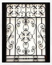 Beautiful Vintage Wrought Iron Window Frames,  Window Grills