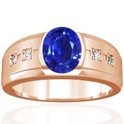 Oval Shape Blue Sapphire Bar Set Mens Ring With Pave Set Diamonds