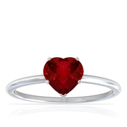 Dainty Heart Shape Four Prong Ruby Solitaire Ring (0.60cttw)